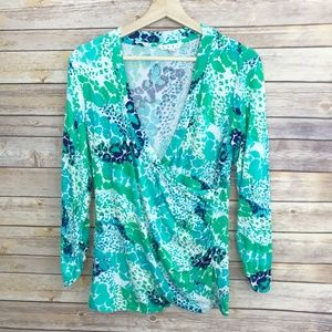 Cabi Surplice Splash Watercolor Print Top